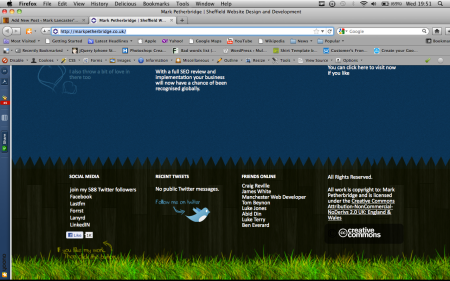 Screen shot of the footer of Marks web site